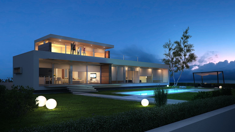 Villa e soleis for residence ville appartamenti for Ville moderne con vetrate